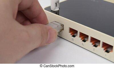 internet, router., człowiek, lan, szczelnie-do góry, lina,...