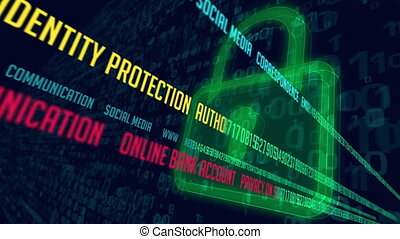 Internet communication and cyber security concept with padlocks symbol on digital background. Encryption and decode of data stream transmission loopable and endless animation.