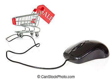 Internet sales concept. Computer mouse connected to the...