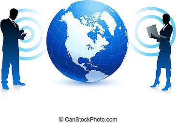 internet sans fil, equipe affaires, fond, à, globe