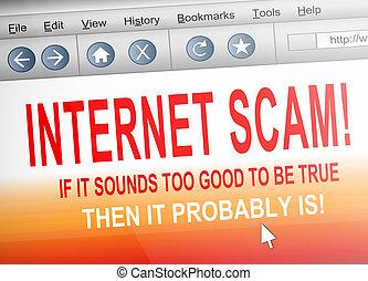 Internet scam. - Illustration depicting computer screen shot...