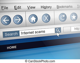 Internet scam. - Illustration depicting a computer screen...