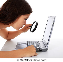Internet search - Attractive young woman searches in...