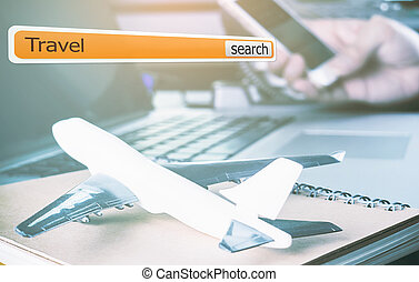 Internet Search Bar for travel agency concept