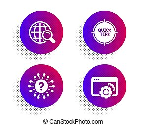 Internet search, Tips and Question mark icons set. Seo gear sign. Web finder, Quick tricks, Quiz chat. Vector