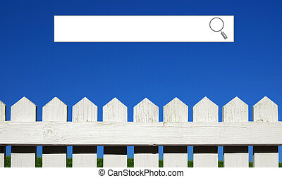 Internet search window with white picket fence, green grass and sky