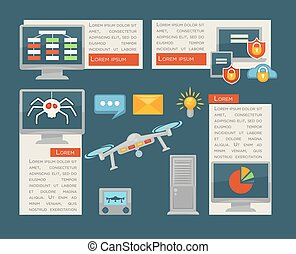 Internet security and computer digital control vector infographics