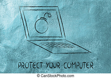 internet security and malware threats, bomb inside pc -...