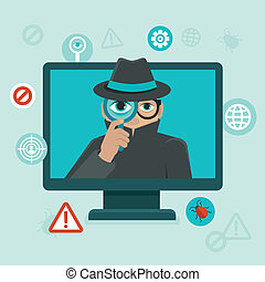 Internet security and spayware warning - Vector flat icons...