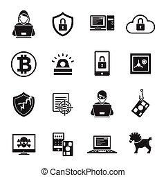 Internet Security Black White Icons Set