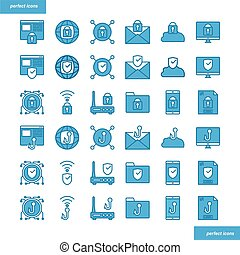 Internet Security Blue Icons set style