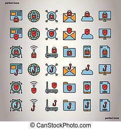 Internet Security Color Line Icons perfect pixel.