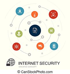 Internet Security colored circle concept with simple icons....