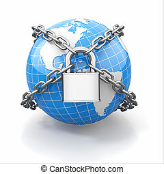 Internet security comcept. Earth and lock on white isolated background. 3d