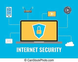 Internet security concept. Data protection. Security elements. Laptop with internet icons on blue background. Vector illustration