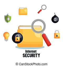 internet security concept flat icons
