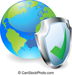 Globe with shield icon with green tick. Concept for internet security or antivirus or firewall etc.