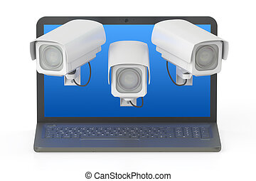 Internet security concept. Laptop and CCTV, 3D rendering