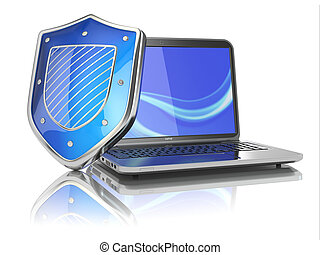 Internet security concept. Laptop and shield.