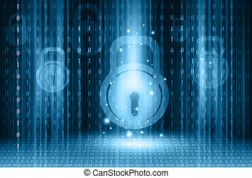 Internet security concept on digital background