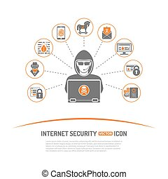 Internet Security Concept with Icon Set for Flyer, Poster,...