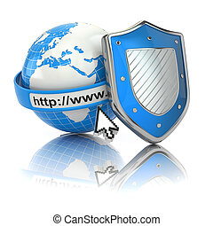 Internet security. Earth, browser address line and shield....