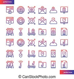 Internet Security gradient icons set