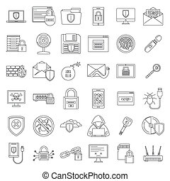 Internet security icon set, outline style