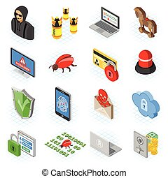 Internet Security isometric Flat Icon Set