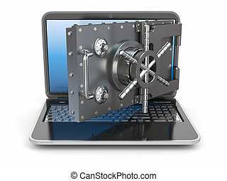 Internet security. Laptop and opening safe deposit box's ...