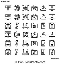 Internet Security Outline Icons perfect pixel.
