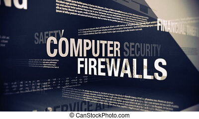 Seamlessly looping animation showing a variety of internet security related terms and concepts.