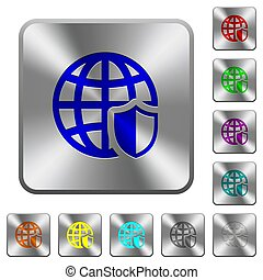 Internet security rounded square steel buttons