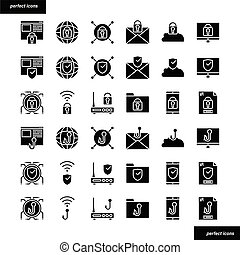 Internet Security solid icons set