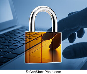 internet security - padlock superimpose onto laptop,...