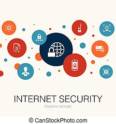 Internet Security trendy circle template with simple icons....