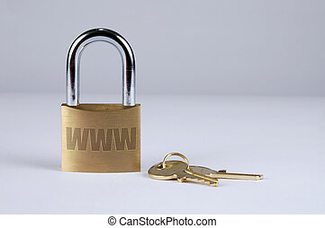 Internet Security with Keys - Lock and keys symbolizing...