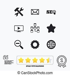 internet , seo, icons., επισκευάζω , βάση δεδομένων , και , star.