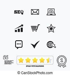 internet, seo, icons., csillag, bevásárlás, signs.