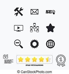 internet, seo, icons., herstelling, databank, en, star.