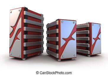 Internet Servers on white, 3D image