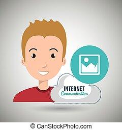 internet, serviço, nuvem, ícone
