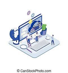 internet, service., emberek, modern, könyvtár, számítógép, tényleges, álló, óriási, csoport, monitor, apró, online, felolvasás, diákok, polc, digitális, isometric, elülső, illustration., books., vektor, vagy