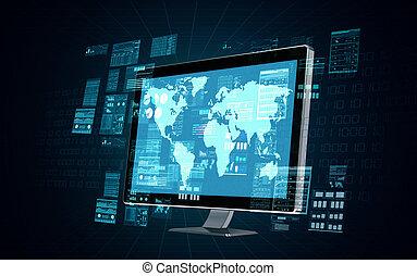 internet, servidor, computador