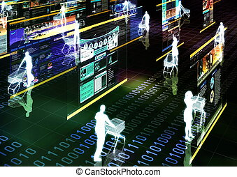 Computer graphic illustration about internet shopping in virtual world.