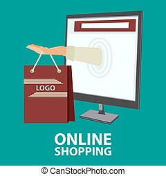 Internet shopping concept in flat style