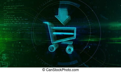 Internet shopping icon with cart