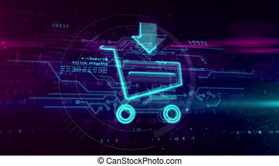 Internet shopping icon with cart sign