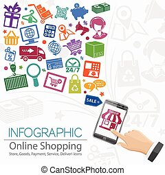 Internet Shopping Infographic with Hand, Set Icons for...