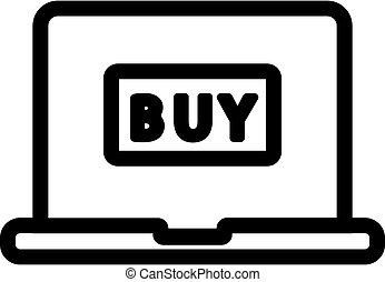 internet shopping, kontur, isoleret, illustration, symbol, vector., ikon